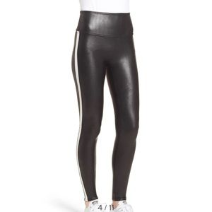 SPANX side strip faux leather leggings M